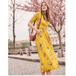 Boden Carrie Jersey Midi Dress - Saffron Daydream